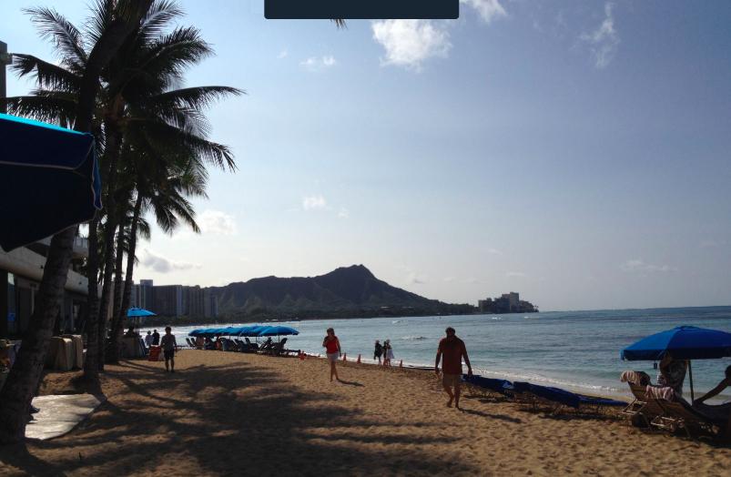 Picture of Diamond Head volcano taken from Honolulu beach.